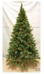 Искусственная елка, украшена шишками