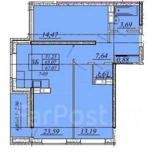 2-комнатная, улица Автолюбителей 1/5лит1. ГМР, агентство, 67 кв.м.