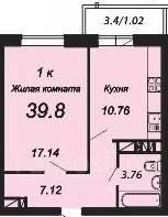 1-комнатная, улица Невкипелого 24/2. гмр, агентство, 39 кв.м.
