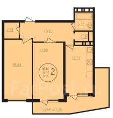 2-комнатная, улица Душистая 79лит1. Молодежный, агентство, 77 кв.м.