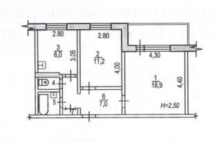 2-комнатная, улица Вяземская 16. Железнодорожный, агентство, 50 кв.м.