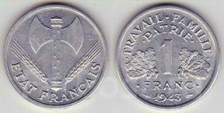 Франция 1 франк 1943 год