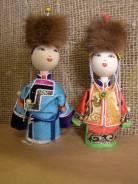 Куклы бурятские: мужчина, женщина в национальном костюме