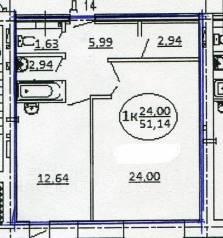 1-комнатная, улица Набережная Озера 22. Ленинский, частное лицо, 51 кв.м.