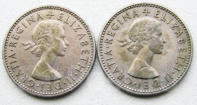 Великобритания. 1 шиллинг 1956 и 1957 г