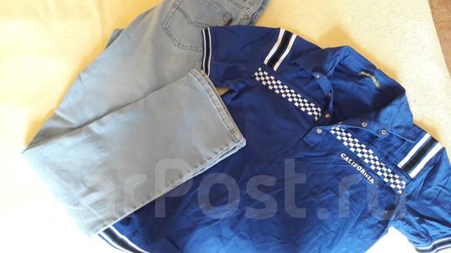 Комплектом джинсы и футболка. 48