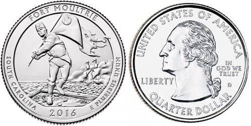 США 25 центов 2016 г . Форт Молтри - 35 парк .