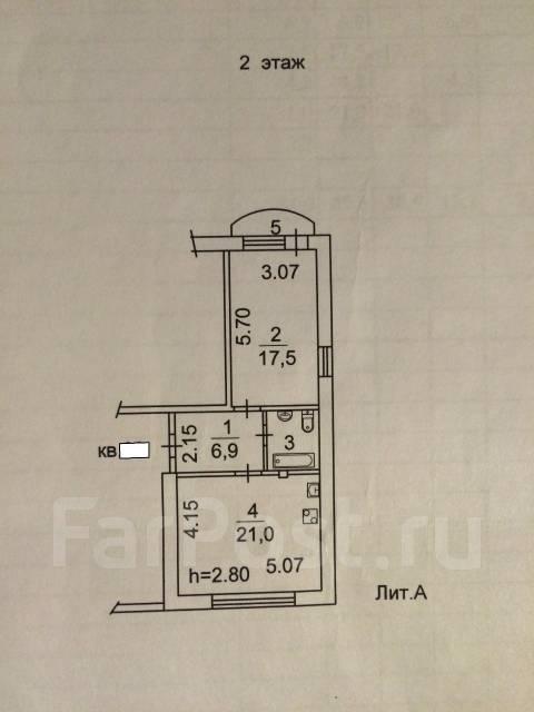 2-комнатная, улица Залесная 35. Заря, частное лицо, 50 кв.м. План квартиры