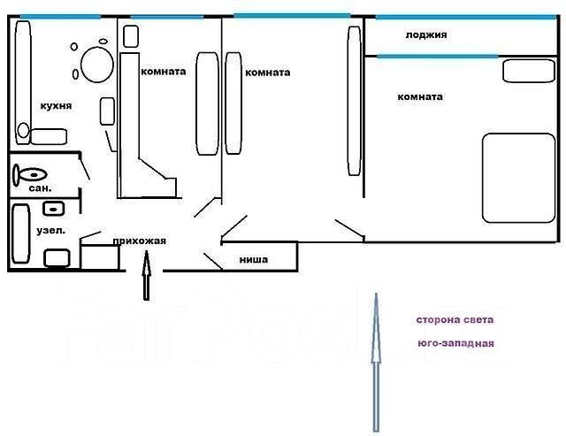 3-комнатная, улица Шошина 17а. БАМ, частное лицо, 72 кв.м. План квартиры