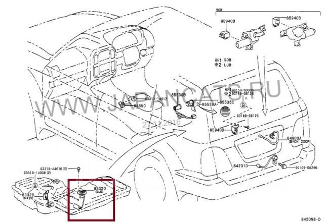 Датчик уровня топлива. Toyota Land Cruiser, FZJ105, HZJ105 Двигатели: 1HZ, 1FZFE, 1FZFE 1HZ