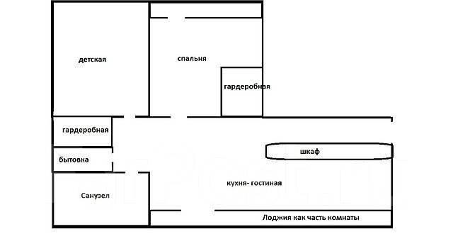 3-комнатная, улица Русская 57к. Вторая речка, агентство, 85 кв.м. План квартиры