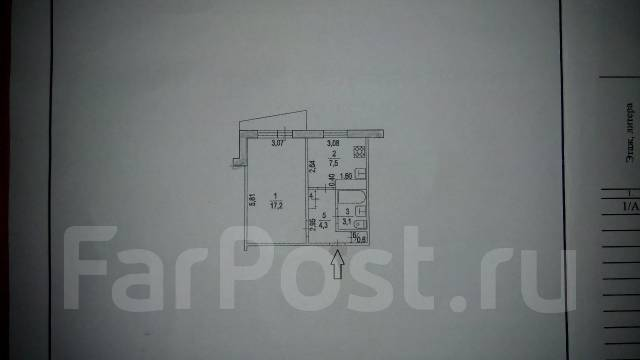 1-комнатная, улица Волочаевская 80. Центральный, агентство, 33 кв.м.