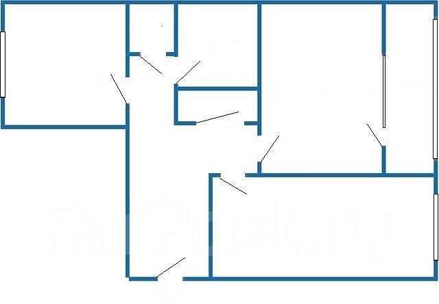 2-комнатная, улица Русская 64. Вторая речка, частное лицо, 52 кв.м. План квартиры