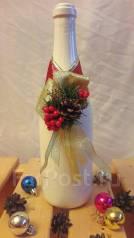Новогоднее украшение на шампанское с золотыми лентами