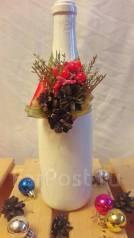 Новогоднее украшение на шампанское с шишками