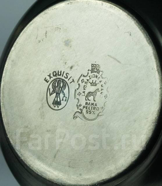 Фарфор+олово. Винтажное кофейное трио. Италия