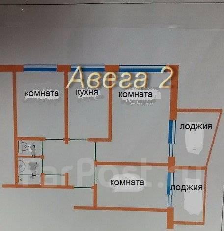3-комнатная, улица Добровольского 39. Тихая, проверенное агентство, 56 кв.м. План квартиры
