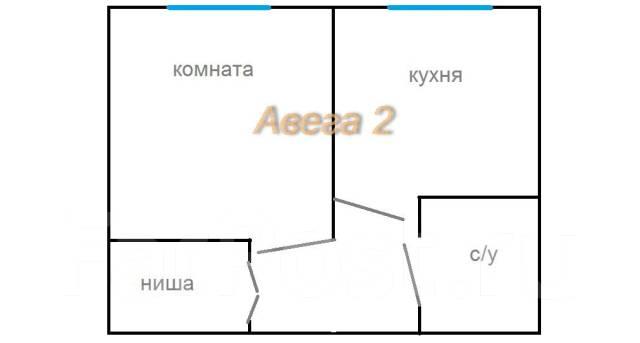 1-комнатная, улица Калинина 177. Чуркин, проверенное агентство, 29 кв.м. План квартиры