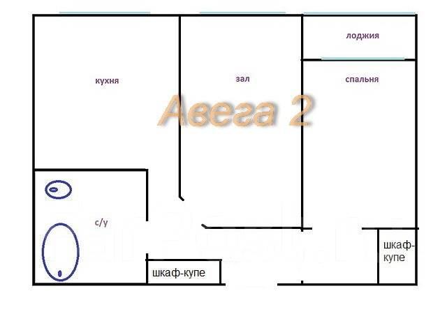 2-комнатная, улица Ладыгина 11. 64, 71 микрорайоны, проверенное агентство, 51 кв.м. План квартиры