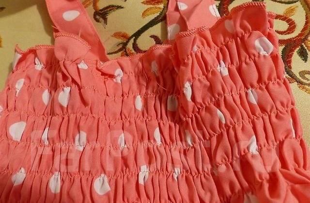 Комплект: летнее платье, трусики и шляпка в горошек на 90 см. Новое!. Рост: 80-86, 86-98, 98-104 см