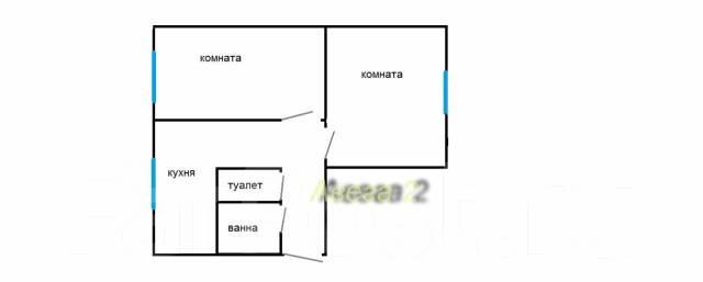 2-комнатная, улица Киевская 12. Чуркин, проверенное агентство, 45 кв.м. План квартиры