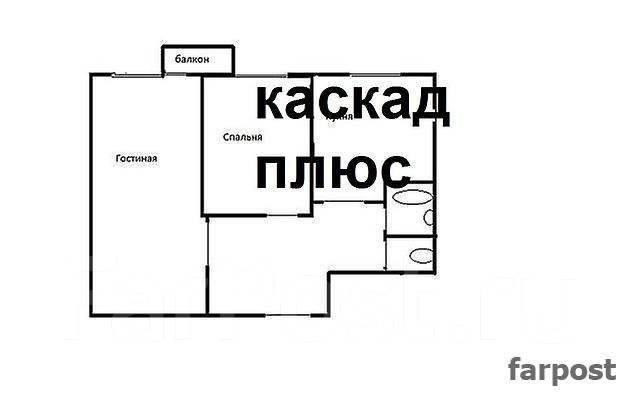 2-комнатная, улица Кирова 17. Вторая речка, агентство, 46 кв.м. План квартиры