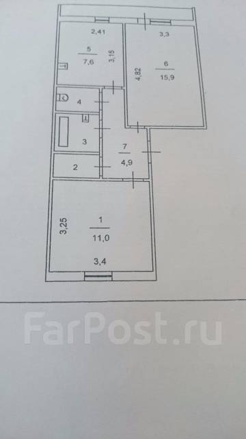 2-комнатная, Ветеранов 14. Слобода , частное лицо, 48 кв.м. План квартиры