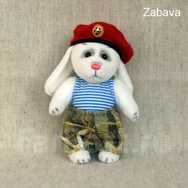 """Авторская мягкая игрушка зайчик ( заяц ) Федя """" Краповый берет """""""