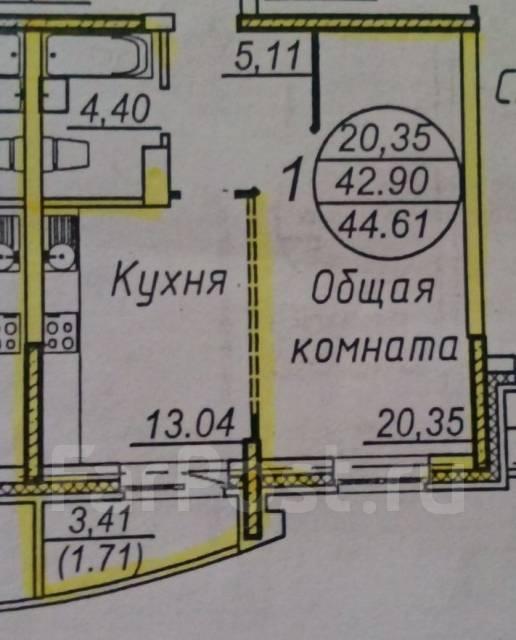 1-комнатная, улица Истомина 22а. Центральный, агентство, 43 кв.м. План квартиры