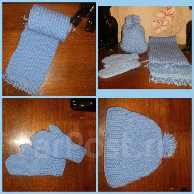 Набор: шапка+шарфик+руковички. Рост: 60-68 см