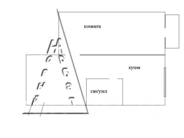 1-комнатная, улица Кирова 56а. Вторая речка, агентство, 30 кв.м. План квартиры