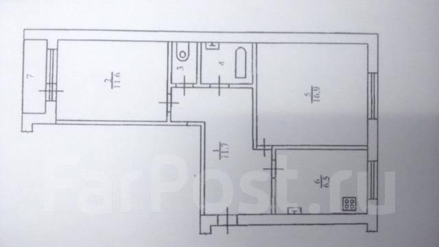 2-комнатная, Северный пр-т 3. Сидоренко, агентство, 52 кв.м. План квартиры