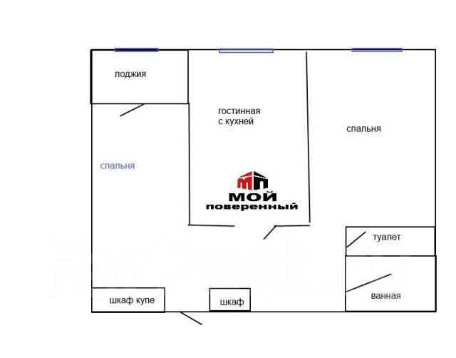 2-комнатная, улица Калинина 115а. Чуркин, агентство, 57 кв.м. План квартиры