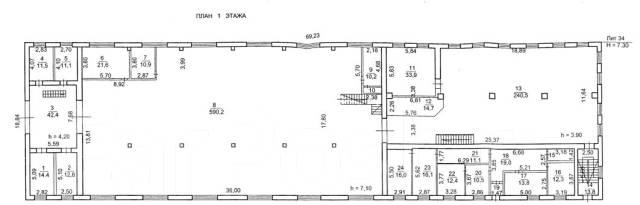 Производственное здание, отдельно стоящее на охраняемой территории. 2 000 кв.м., улица Калинина 244, р-н Чуркин. План помещения