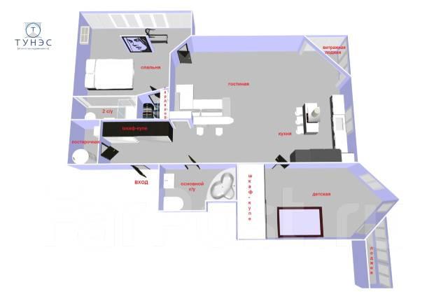 3-комнатная, улица Крыгина 86в. Эгершельд, проверенное агентство, 115 кв.м. План квартиры