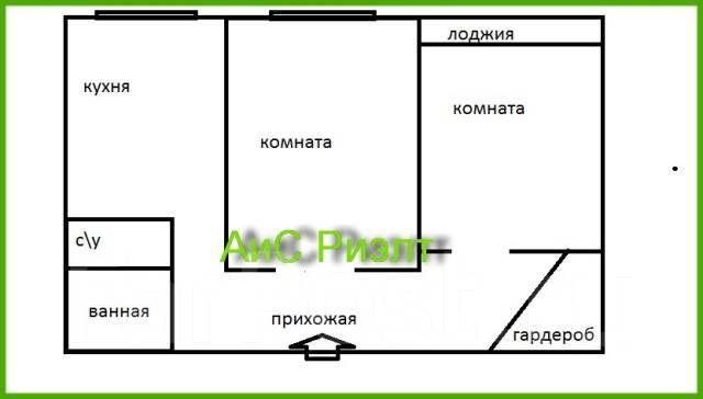 2-комнатная, улица Давыдова 22а. Вторая речка, агентство, 76 кв.м. План квартиры