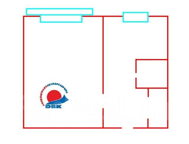 1-комнатная, улица Кирова 54. Вторая речка, агентство, 32 кв.м. План квартиры