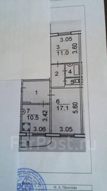 2-комнатная, улица Вострецова 4а. Столетие, агентство, 56 кв.м. План квартиры