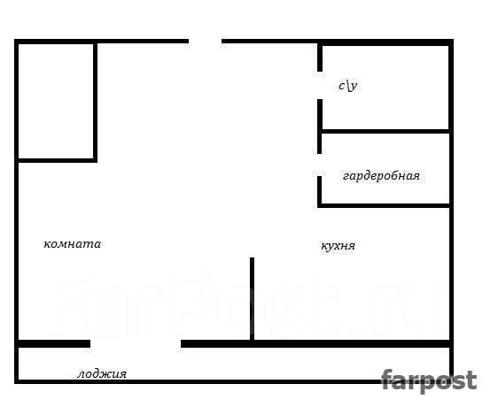 1-комнатная, улица Комсомольская 25б. Первая речка, агентство, 45 кв.м. План квартиры