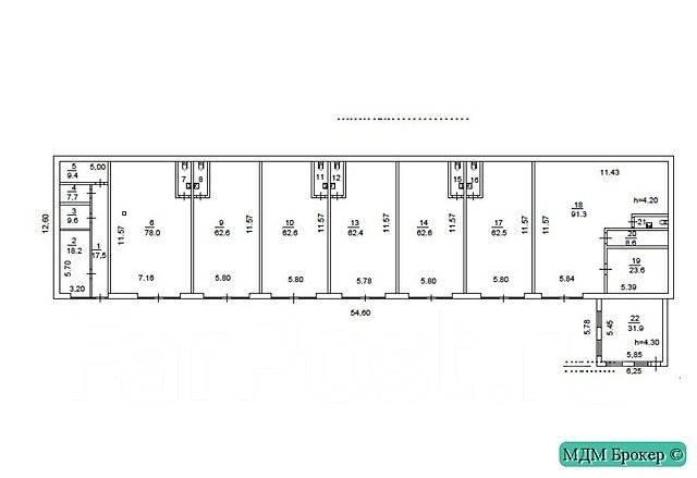 Административно-офисное здание — 1850 кв. м, с парковкой. Проспект 100-летия Владивостока 155 кор. 4, р-н Вторая речка, 1 850 кв.м. План помещения