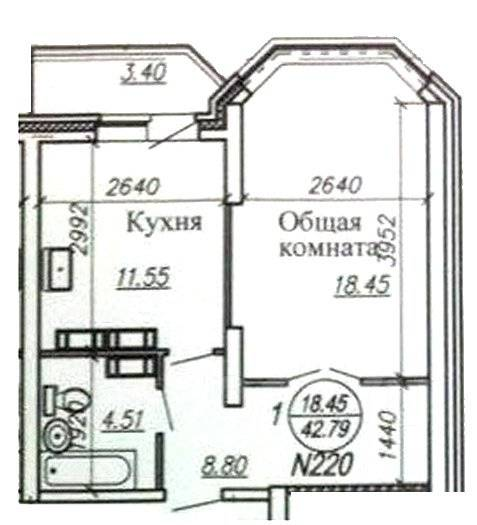 1-комнатная, улица Джамбула 27. Кировский, агентство, 43 кв.м.
