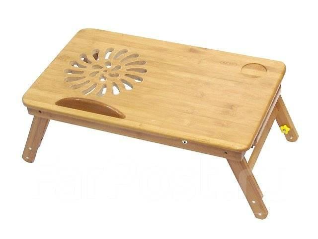 Стол из бамбука для ноутбука. Jengcool-14 Без вентиляции 50х30см