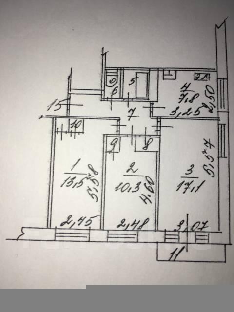 3-комнатная, проспект 100-летия Владивостока 139. Вторая речка, частное лицо, 70 кв.м. План квартиры