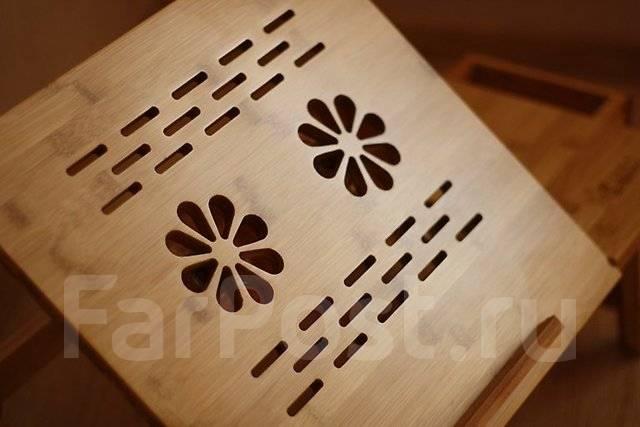 """""""Beocup 11F""""Бамбуковый столик для ноутбука с охлаждением"""