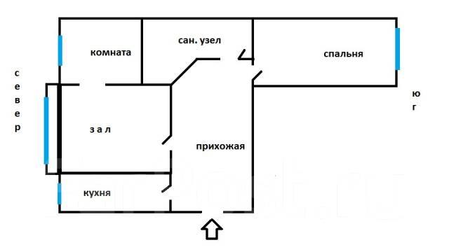 3-комнатная, улица Фирсова 8б. Столетие, агентство, 61 кв.м. План квартиры