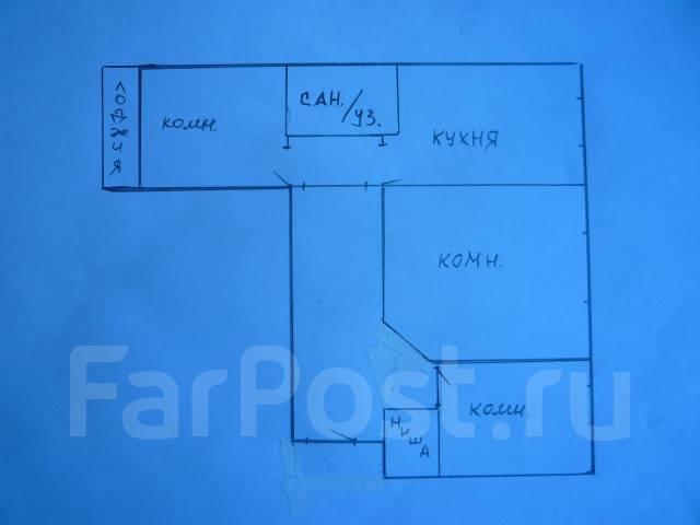 3-комнатная, улица Ватутина 2. 64, 71 микрорайоны, проверенное агентство, 67 кв.м. План квартиры