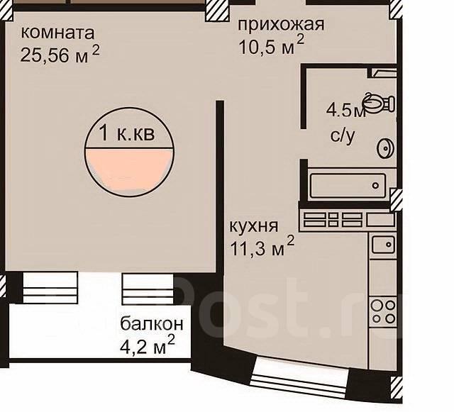 1-комнатная, улица Ладыгина 2д. 64, 71 микрорайоны, проверенное агентство, 50 кв.м. План квартиры