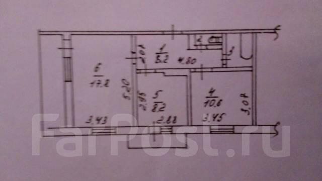 2-комнатная, улица Кожевенная 19. Заводской, частное лицо, 50 кв.м. План квартиры