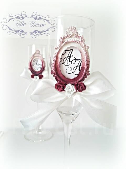 Оформление свадебных бокалов, бутылки шампанского. Под заказ