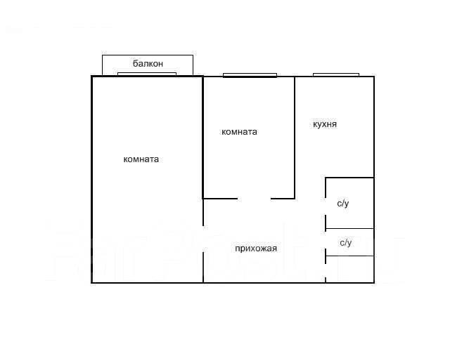 2-комнатная, улица Кирова 72. Автобаза, агентство, 45 кв.м. План квартиры